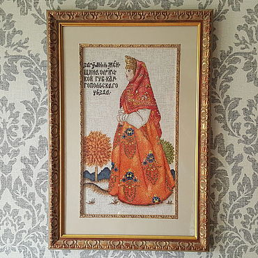 Картины и панно ручной работы. Ярмарка Мастеров - ручная работа Картина вышитая крестом Замужняя женщина. Handmade.
