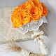 """Свадебные цветы ручной работы. Ярмарка Мастеров - ручная работа. Купить Текстильный букет """"Осенняя Свадьба"""". Handmade. Оранжевый"""
