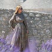 Платья ручной работы. Ярмарка Мастеров - ручная работа Платье в пол Love Paisley натуральный хлопок широкий рукав пояс макси. Handmade.