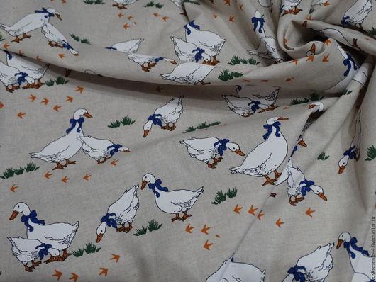 Текстиль, ковры ручной работы. Ярмарка Мастеров - ручная работа. Купить Скатерть полульняная набивная Гуси. Handmade. Комбинированный