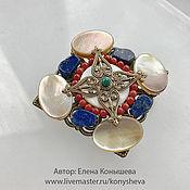 Украшения handmade. Livemaster - original item Brooch - cross multi-color mother-of-pearl.. Handmade.