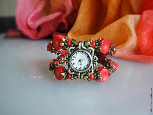 Часы женские на руку Барбадос II, наручные часы, женские часы часы с красным кораллом, часы наручные купить, часы наручные женские, часы с кораллом, браслет с кораллами, браслет с кораллом, часы брас