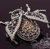 Украшения handmade. Livemaster - original item Silver beetle precious beads. Handmade.