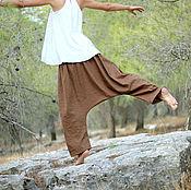 Одежда ручной работы. Ярмарка Мастеров - ручная работа Льняные широкие штаны с низкой проймой. Handmade.