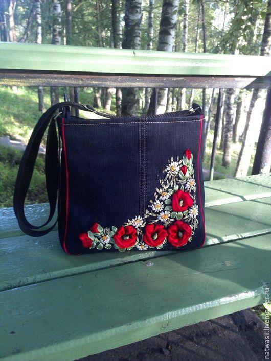 Женские сумки ручной работы. Ярмарка Мастеров - ручная работа. Купить Сумка Маки. Handmade. Тёмно-синий, Вышивка лентами