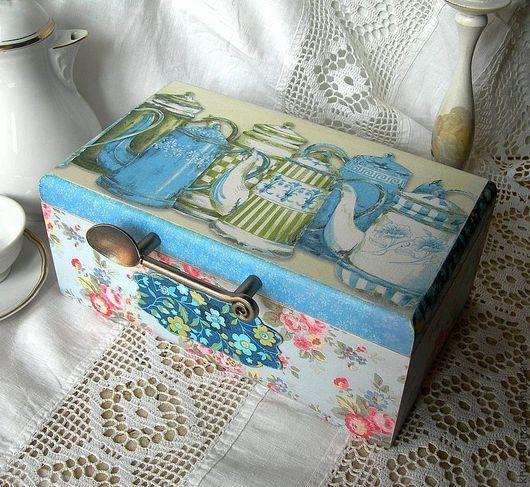 """Корзины, коробы ручной работы. Ярмарка Мастеров - ручная работа. Купить Чайная коробка """"Ситцевая кухня"""". Handmade. Голубой"""