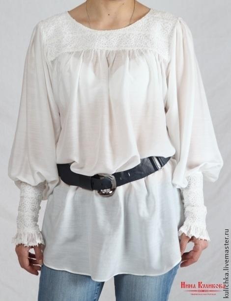 Блузки ручной работы. Ярмарка Мастеров - ручная работа. Купить Блузка белая с отделкой кружевом (русский стиль). Handmade. Белый