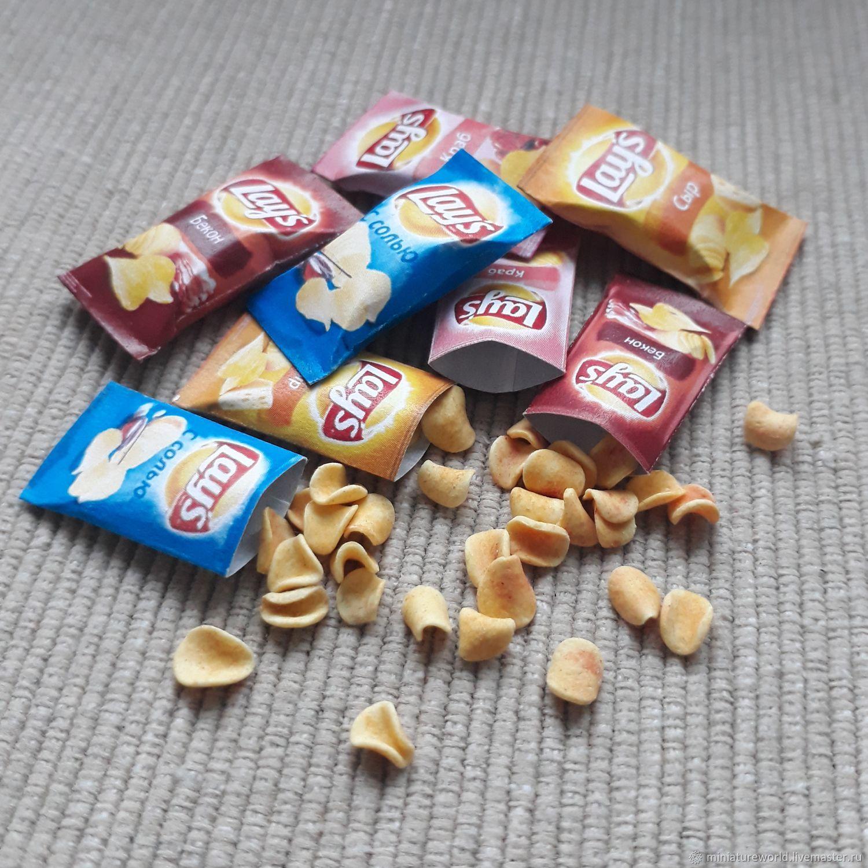 Миниатюрные чипсы Lay's 1:12, Кукольная еда, Екатеринбург,  Фото №1