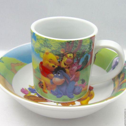 Винтажная посуда. Ярмарка Мастеров - ручная работа. Купить Детская кружка и тарелка из Диснейлэнда Винни Пух. Handmade. Комбинированный, фарфор