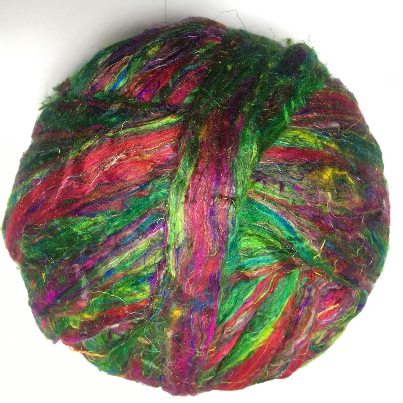 Декор: Сари шелк в топсе. Очес. Красочный зеленый. 10 гр Германия, Войлок, Бердск,  Фото №1
