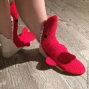 """Обувь ручной работы. Ярмарка Мастеров - ручная работа носки """"Красные акулы"""". Handmade."""