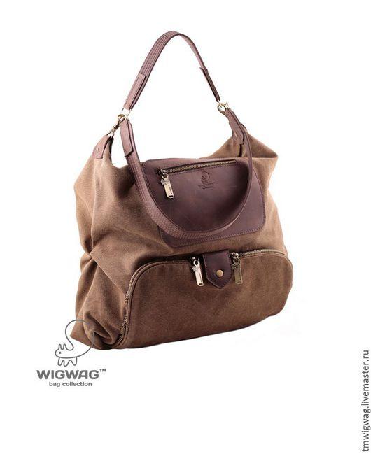Женские сумки ручной работы. Ярмарка Мастеров - ручная работа. Купить Женская сумка - хобо из канваса с двумя кожаными ручками. Handmade.