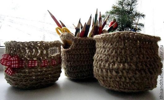 Корзины, коробы ручной работы. Ярмарка Мастеров - ручная работа. Купить Корзинки из джута и льна. Вязание крючком. Handmade. Коричневый