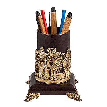 Канцелярские товары ручной работы. Ярмарка Мастеров - ручная работа Карандашница Три богатыря. Handmade.