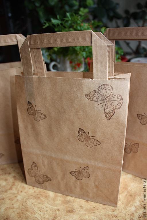Упаковка ручной работы. Ярмарка Мастеров - ручная работа. Купить Крафт-пакет с плоскими ручками с бабочками. Handmade. Крафт-пакет