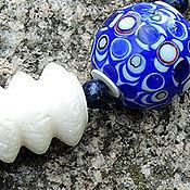 Украшения ручной работы. Ярмарка Мастеров - ручная работа Браслет Кобальт по белому. Handmade.