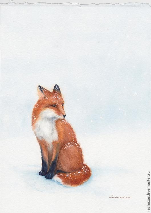 Под снегом. Лиса, акварель, размер 17см*23см, Светлана Маркина, LechuzaS