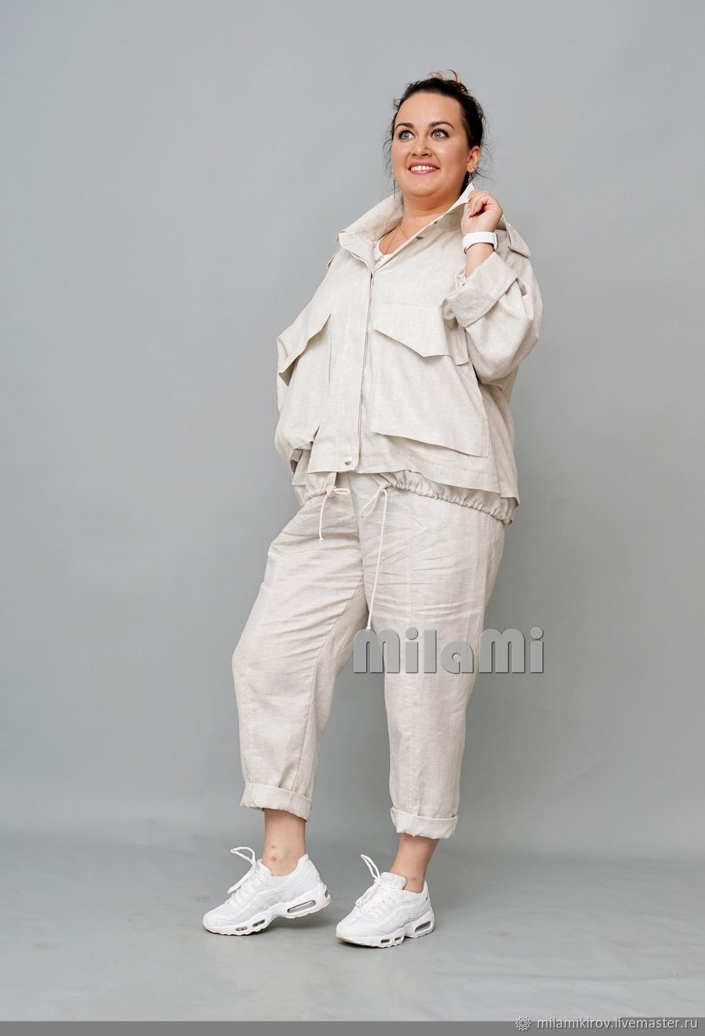 .4411 Trousers loose narrowed to the bottom with reliefs linen light gray, Pants, Kirov,  Фото №1
