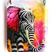 "Украшения handmade. Livemaster - original item Transparent pendant ""Elephant - Zebra"" Jewelry resin. Handmade."