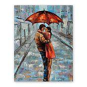 Картины и панно handmade. Livemaster - original item The picture of the Lovers under the umbrella.. Handmade.