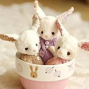 Куклы и игрушки ручной работы. Ярмарка Мастеров - ручная работа Мини зайки: Ми, Ли и Ди (12 см). Handmade.