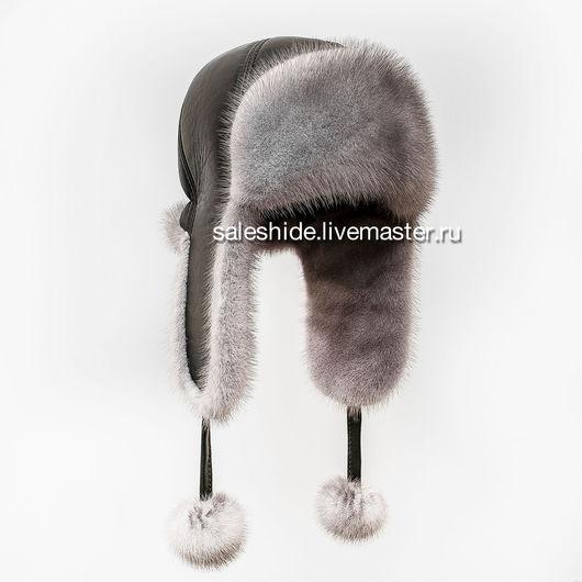 Шапки ручной работы. Ярмарка Мастеров - ручная работа. Купить Стильная женская шапка ушанка из голубого меха норки (Сапфир). Handmade.
