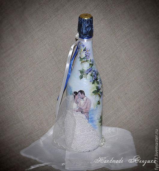 Подарочное оформление бутылок ручной работы. Ярмарка Мастеров - ручная работа. Купить Декор подарочной бутылки на свадьбу. Handmade. украшения