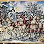 Картины и панно ручной работы. Ярмарка Мастеров - ручная работа Картина бисером Тройка. Handmade.