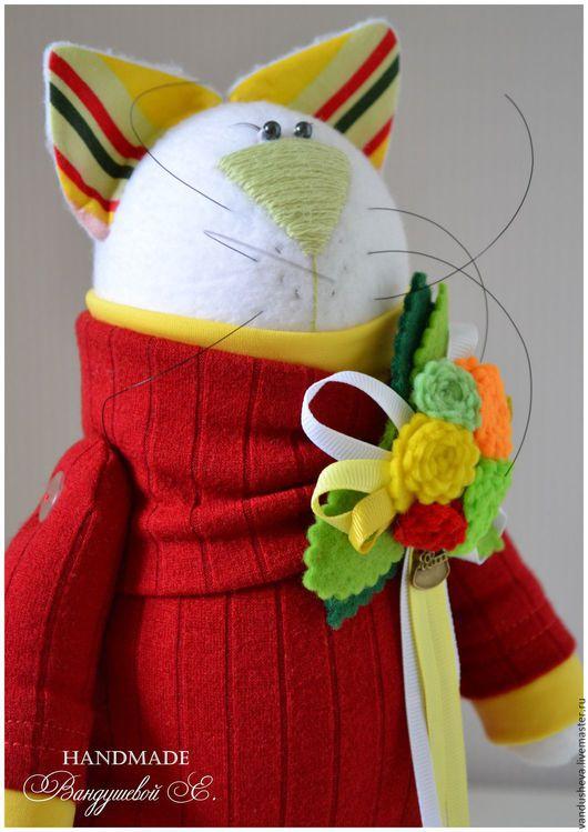 Игрушки животные, ручной работы. Ярмарка Мастеров - ручная работа. Купить Кошка с котёнком.. Handmade. Бардовый, зеленый, подарок девушке