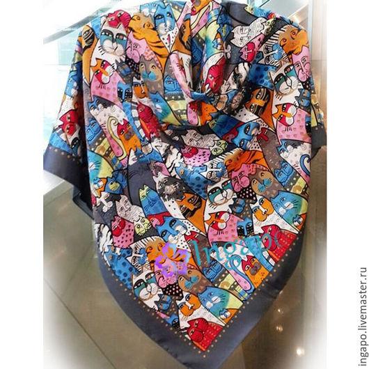 Шитье ручной работы. Ярмарка Мастеров - ручная работа. Купить Платок Кошки 005. Handmade. Серый, платок с кошками, копии