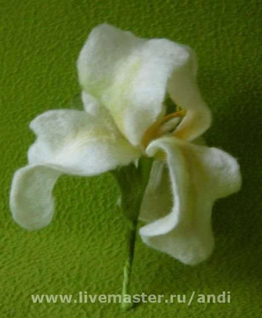 Brooches handmade. Livemaster - handmade. Buy Brooch 'iris white'.Wet felting, white iris, 100% wool Merinos