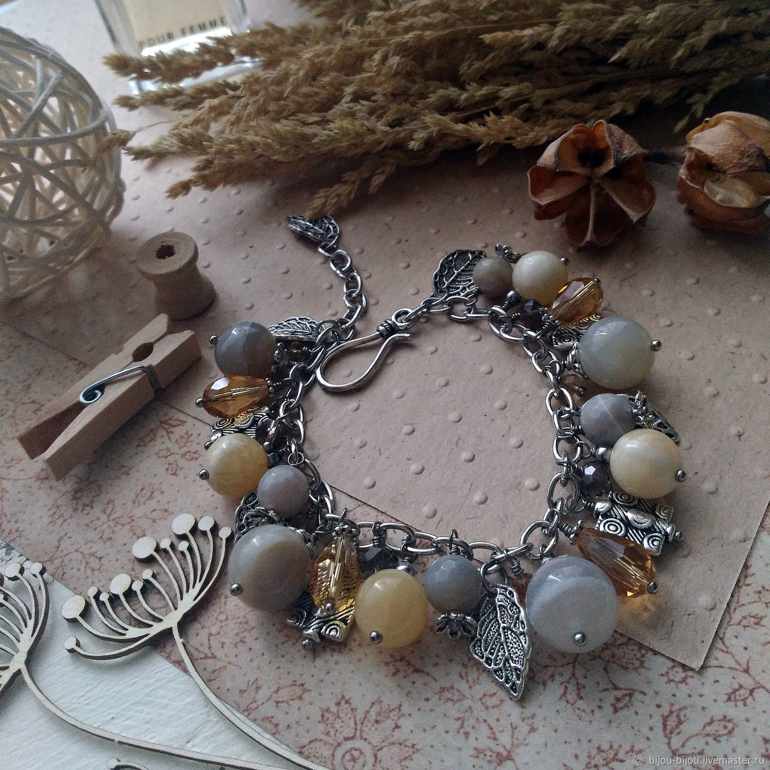 Bracelet with natural grey agate Spring in the city, Bead bracelet, Tyumen,  Фото №1
