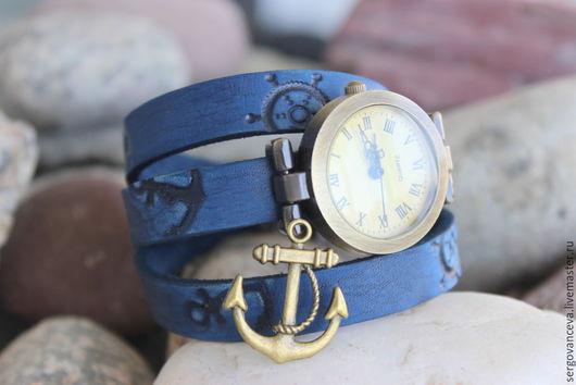 """Часы ручной работы. Ярмарка Мастеров - ручная работа. Купить Часы наручные """"Морячка"""". Handmade. Часы наручные, море-море"""