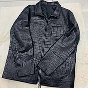 Одежда handmade. Livemaster - original item Men`s jacket, made of crocodile skin, in dark blue!. Handmade.