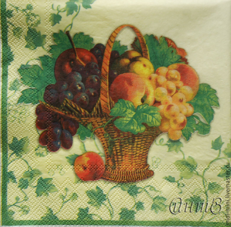 Wipes for decoupage basket with fruit, grapes, peaches, apples, Napkins for decoupage, Moscow,  Фото №1