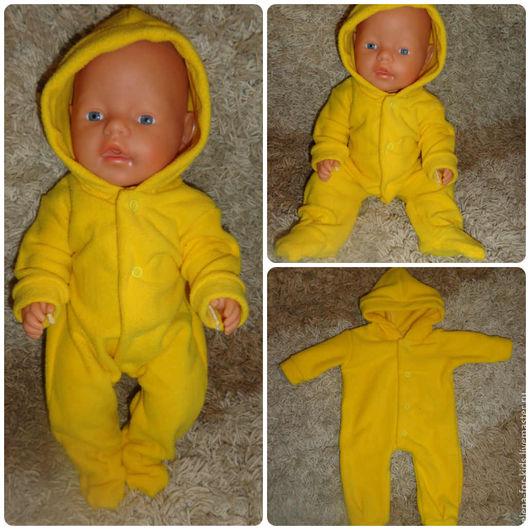 Одежда для кукол ручной работы. Ярмарка Мастеров - ручная работа. Купить Комбинезон для Baby born,. Handmade. Желтый, флис