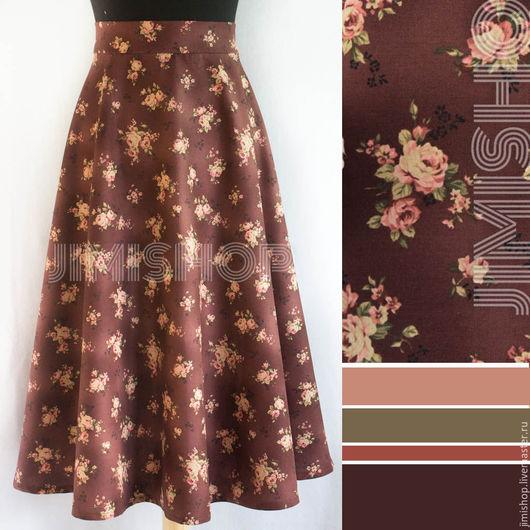 Юбки ручной работы. Ярмарка Мастеров - ручная работа. Купить Юбка с винтажными розочками в цвете марсала полу-солнышко. Handmade.