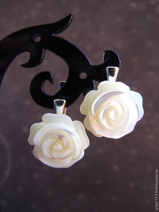 Серьги ручной работы. Ярмарка Мастеров - ручная работа. Купить Серьги. Розы маленькие.. Handmade. Белый, розы, серьги из серебра