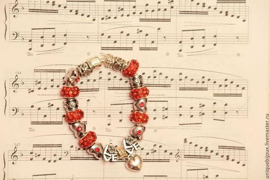 браслет, сюрприз, акция, любовь, признание, День Святого Валентина, подарок девушке, подарок на любой случай, пандора стиль, посеребрение,  сердце, ярко-красный, уникальный дизайн, эксклюзивный, тренд