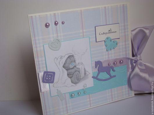 """Детские открытки ручной работы. Ярмарка Мастеров - ручная работа. Купить Открытка """" С новорожденным"""". Handmade. Сиреневый, для детей"""