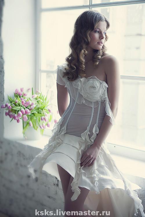 """Свадебное-коктейльное платье """"Морозная нежность"""""""