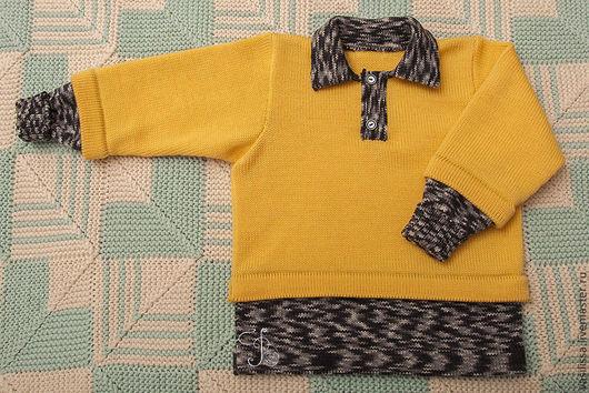 Одежда унисекс ручной работы. Ярмарка Мастеров - ручная работа. Купить Детский джемпер с застежкой поло Два в Одном. Handmade.