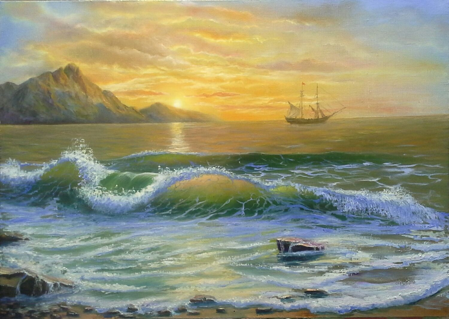 """Oil painting. Land""""Gold sunset-pics"""",landscape, Pictures, Ozery,  Фото №1"""