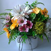 Композиции ручной работы. Ярмарка Мастеров - ручная работа Летние цветы в керамической кастрюльке. Handmade.