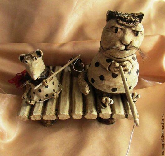 Игрушки животные, ручной работы. Ярмарка Мастеров - ручная работа. Купить Рыбалка. (Кот мышей не ловит...))). Handmade. Кот