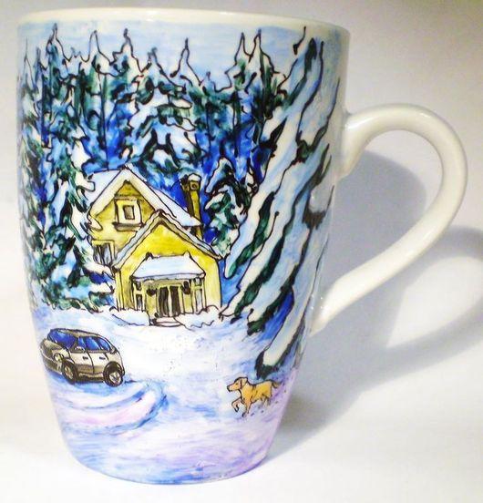 Кружки и чашки ручной работы. Ярмарка Мастеров - ручная работа. Купить Зимняя сказка. Handmade. Голубой, краски запекаемые для стекла