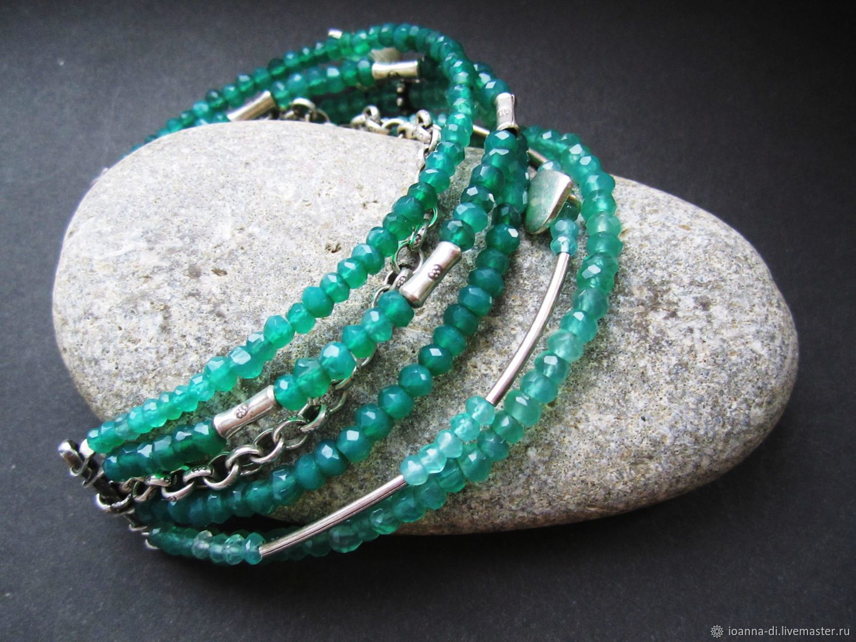 Bracelet 'Sonata for two' 925 silver, chrysoprase, Bead bracelet, Moscow,  Фото №1