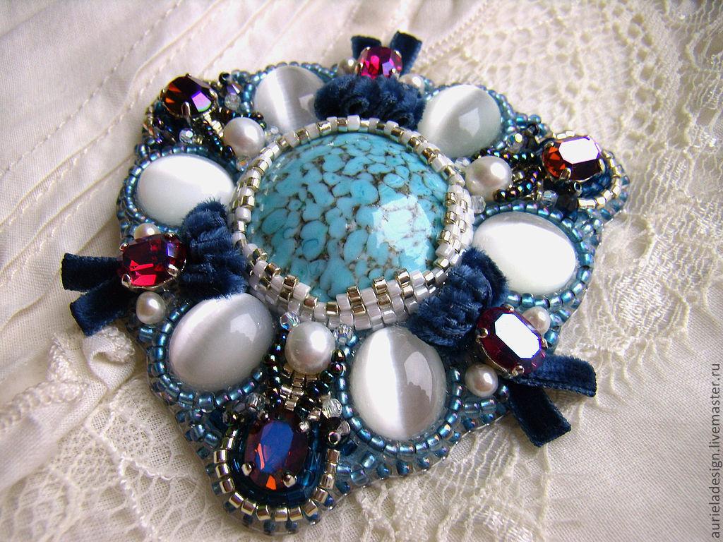 """ручной работы. Ярмарка Мастеров - ручная работа. Купить Брошъ """"Royal blue"""". Handmade. Винтаж, брошъ с кристалами, бисер японский"""