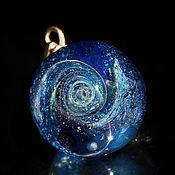 Украшения handmade. Livemaster - original item Pendant ball. Universe. Space. Galaxy, planet. Cosmic Jewelry Blue. Handmade.