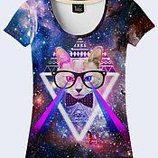 """Одежда ручной работы. Ярмарка Мастеров - ручная работа Женская футболка """"Лазерный кот"""". Handmade."""